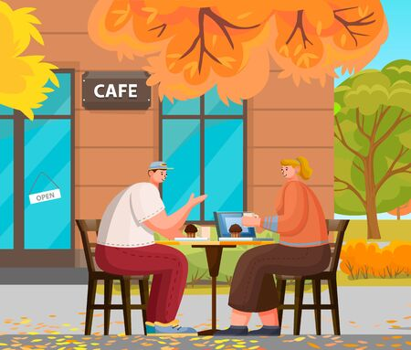 Man and woman romantic day in cafe. Couple sitting on terrace with cup of hot beverage and brownie. Leisure of male and female in coffeehouse outdoor. Autumn view and exterior of restaurant vector