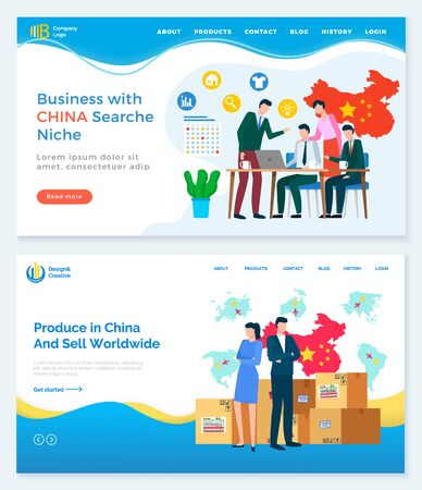 Business with China search niche and relation between counties. Trade and selling products from asian country. Illustration