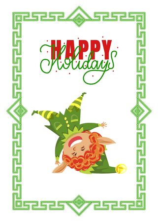 Elf standing on head, Christmas greeting card with Happy Holidays wish in frame.