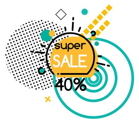 Super sale promotion banner, 40 percent off price. Reduced cost of goods of shops. Geometric shapes decoration.