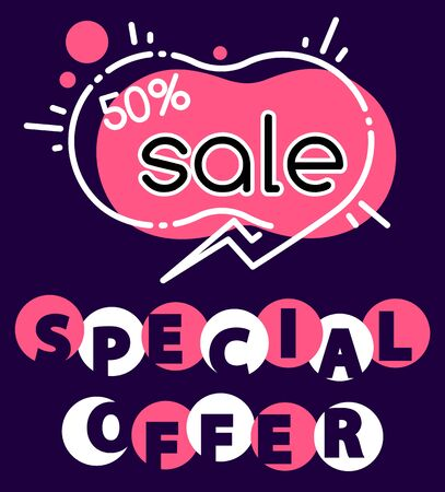 Special offer sale 50 percent lowering of price, promotional banner with text and shapes. Half cost reduction on products in store. Promo at market, discounts clearance, vector in flat style