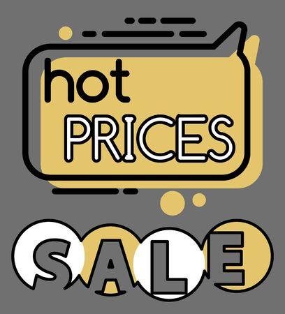 Hot price and best deals promotional banner. Clearance at shop or market. Lowering of cost and special propositions on products. Chat box bubble icon in line style, vector in flat illustration