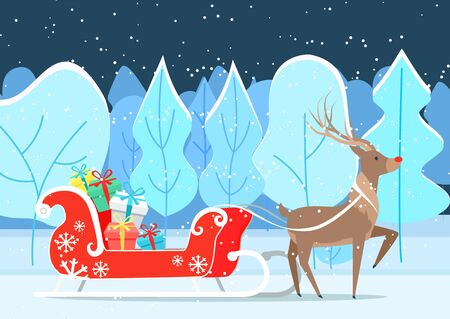 Deer cartoon character with sledge in winter park. Reindeer fairy animal riding sleigh with colorful gift boxes in evening. Dark view of forest with Santa assistant with present on snowy land vector