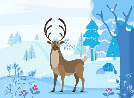 Arctic reindeer character standing on snowy landscape with fir-tree and blossom. Christmas card with deer in spruce forest in winter season. Wild animal with antlers walking near frost trees vector Illustration