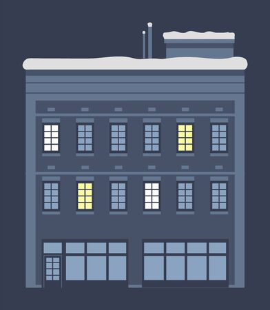 Construction at winter night. Isolated building with lights in windows and entrance. Modern architecture of home. House with roof covered with snow. Facade and exterior. Flat vector illustration  イラスト・ベクター素材