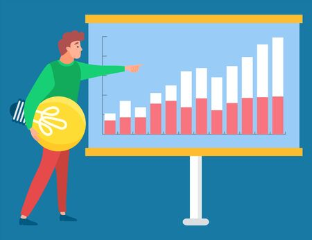 Man standing with light bulb near statistics chart and looking on it. Business tools for innovations and cooperation. Vector illustration flat style Illustration