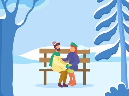 Dating couple sitting on wooden bench in park. Winter landscape with trees covered with snow. Man and woman cuddling outdoors wearing warm clothes. People outside romantic pair, vector in flat