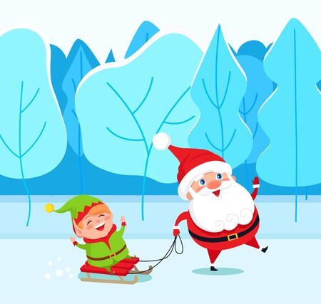 Santa Claus and elf cartoon character on sleigh walking in winter park. Christmas holiday card with funny winter fairy heroes going near snowy fir-trees. Festive card with Xmas kids in forest vector