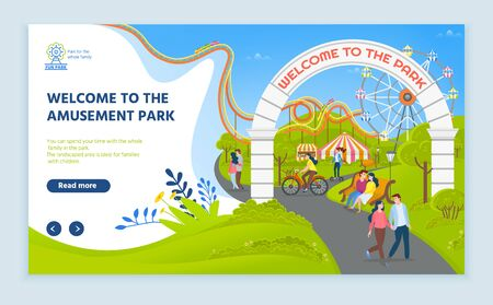 Welcome to amusement park vector, greenery and attractions for parents and kids, path leading to ferris wheel with cabins to view scenery. Website or webpage template, landing page flat style Illustration