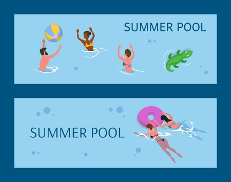 People playing volleyball, summer aqua activity. Man and woman wearing swimwear, splashing in water, pool in summer, swimming females with inflatable rubber circle vector Ilustração