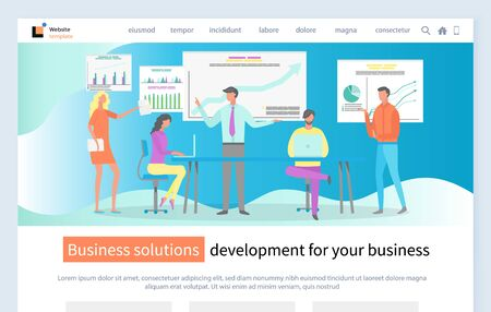 Business solution development vector, people on meeting presentation with charts and analytics schemes and diagrams conference of employees. Website or webpage template for business, landing page flat