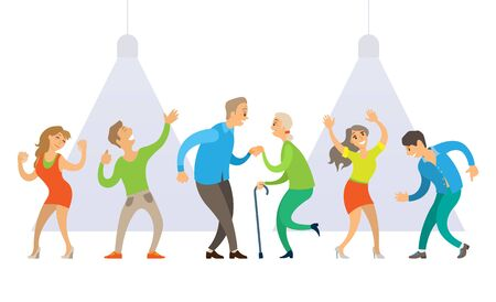 Partying people vector, senior old couple with wooden stick dancing, young male and female on performance, man and woman on stage with spotlights