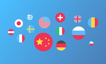 Flag of USA and China vector, isolated rounded shapes of Germany and Japan national colors, Greece and UK great Britain Spain and Italy Sweden Russia Ilustrace