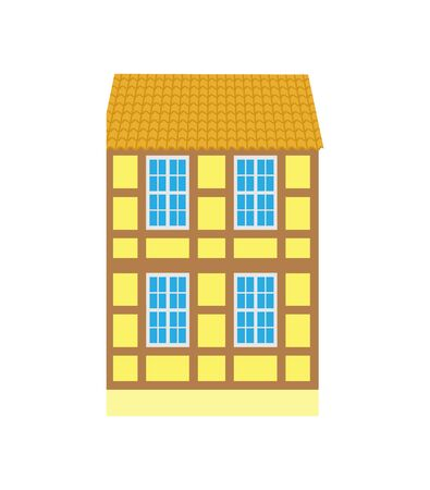 Building with windows and wooden planks vector, old style design of town. Isolated icon of construction, classic cityscape urban area in flat style  イラスト・ベクター素材