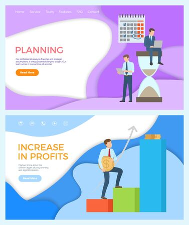 Increase in profits and planning of business set vector. Timetables and schedule, calendar and deadline frames. Person walking up with golden coin. Website or webpage template landing page in flat