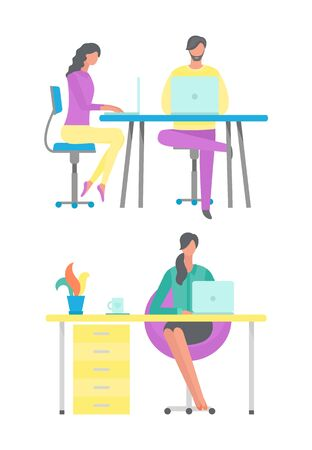 Freelancer sitting by desk at home vector, lady with tea cup and plant on table. People in office typing on laptops and computers, secretary flat style Illustration