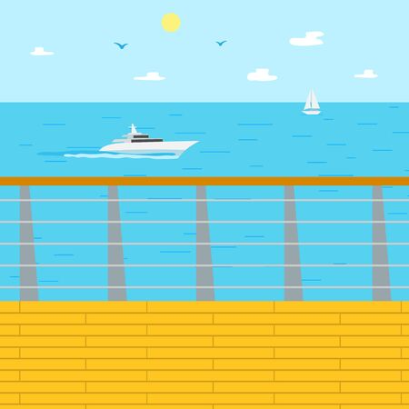 Vacation in summer, seascape vector blue sea water and ship. Sailboat and fair weather, marine view, beach and wooden pier for traveling tourists