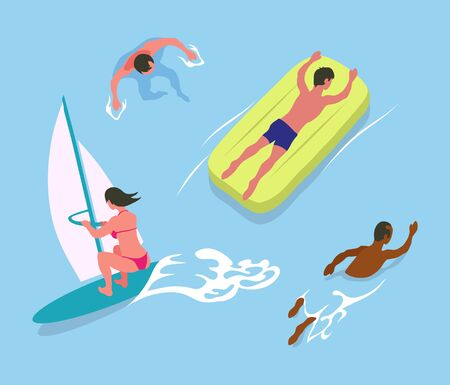Man swimming in water, person lying on inflatable mattress, woman windsurfing, summer water activities. full length view of woman and man in sea vector Illustration