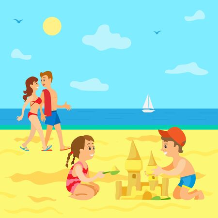 Summer vacations of kids vector, beach and seaside view, Family on holidays, couple parents walking along coast and kids building castle from sand