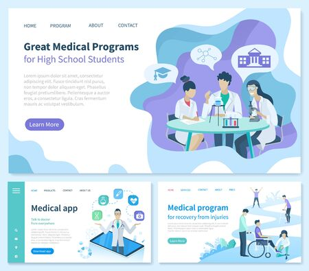 Medical program for recovery from injuries vector. Great High School students application, smartphone with possibilities. Medicine workers in gowns. Website or webpage template landing page flat style 일러스트