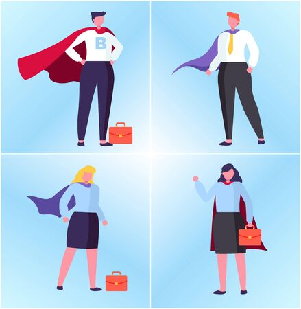 Hero man and woman with handbag, manager in superhero suit, portrait view of worker character, people in suit flat design style, winner human vector