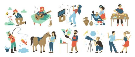 Talents and skills, hobbies vector. Photo and playing music, singing and pottery, puzzles and fishing, horse riding and cooking, astronomy and dancing 向量圖像