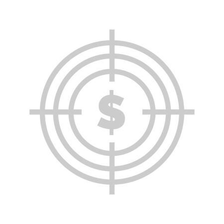 Target with dollar vector, American currency in circle aim with lines, spot isolated flat style. Business and finances assets website with information