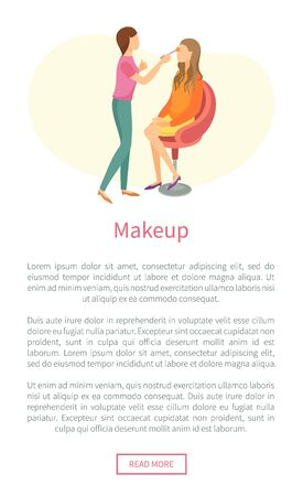 Makeup web poster with stylist making fashion glamor maquillage to client in chair vector, text sample. Professional make up studio leaflet, cosmetician