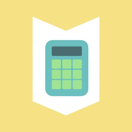 Calculator for financial accounting vector, calculating mechanism isolated icon. Estimator with buttons and screen with numbers, account device sign