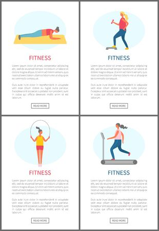 Fitness people vector, woman with heavy dumbbells, lady using jumping rope and person running on special machine in gym. Losing weight and keep fit