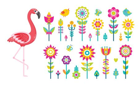 Flamingo and flowers, summer objects or elements vector. Birds and butterflies above wild abstracts plants, tropical animal and greenery, insects