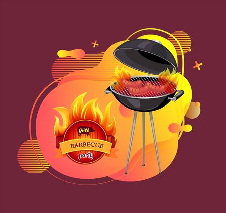 Picnic with cooking sausages bagels vector, barbeque party outdoors, mangal with roasting meal, food preparation on special equipment, heat and flame