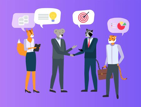 Hipster animals isolated on purple,meeting of business people character raccoon holding hand of koala, tiger and fox, discussing ideas and charts vector