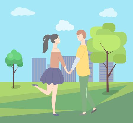 Dating teenage, girl in short skirt, boy in yellow sweater people walking together in city park with green trees, buildings at backdrop. Vector young couple