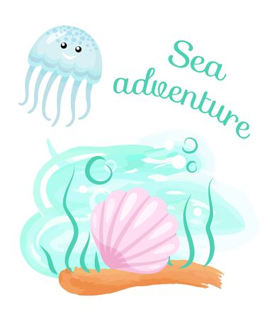 Jellyfish and seashell on bottom, sea adventure vector. Seaweed and bubbles, ocean and underwater creatures, vacation or holiday at seaside, diving