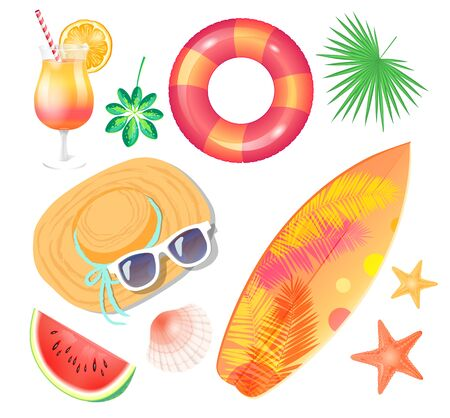 Summer holiday banner vector placard sample. Surfboard and palm leaves print and inflatable ring, straw hat with sun glasses, cocktail and watermelon