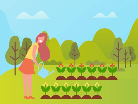 Person with watering can working on land vector, farming girl in good mood caring for soil and plantation with growing product, flowers in blossom Ilustrace