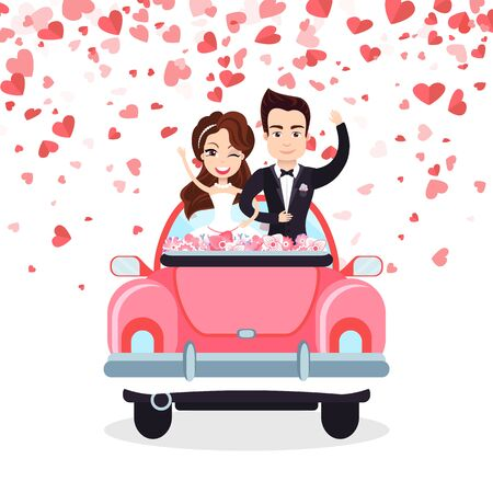 Smiling newlyweds standing in wedding car decorated by flowers, groom holding bride, valentine or romantic postcard with hearts, couple characters vector