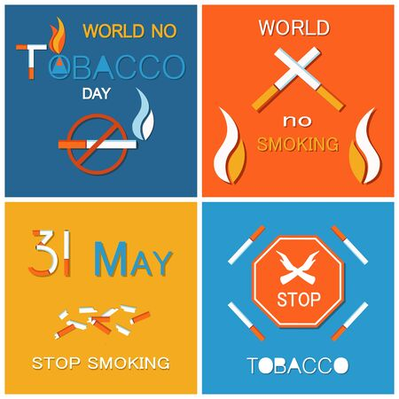 Stop smoking banners forbidden harmful habit, vector illustration with cigarettes and matches, unhealthy addiction, broken cigars and stop sign. World no tobacco day