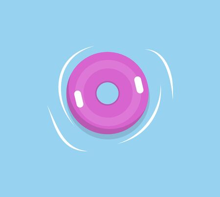 Lifebuoy or lifesaver isolated pink rubber circle in sea waters. Vector marine safety equipment, purple round life belt for swimming in deep marines