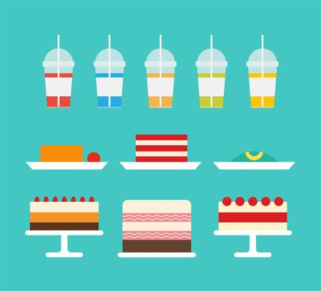 Juicy beverages and smoothies poured in cups vector. Cakes and natural drinks dessert with mousse and creamy top, fruits and decor on confectionery Illustration