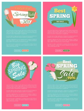 Sale, discount and best offer, label for springtime promotion and advertising, daisy bouquet. Advertisement decorated by flowers, greeting for ladies vector. Website with links buy and read now 向量圖像