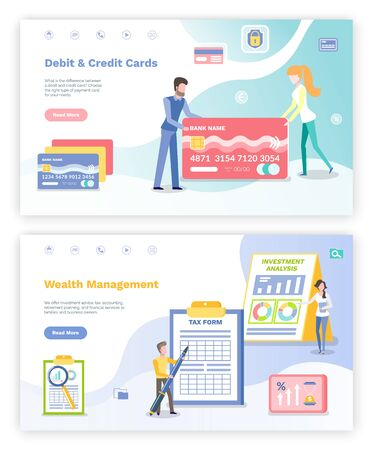 Wealth management vector, debit and credit cards people with banking system. Male filling tax form, infographics on screen, set of transaction. Website or webpage template, landing page flat style