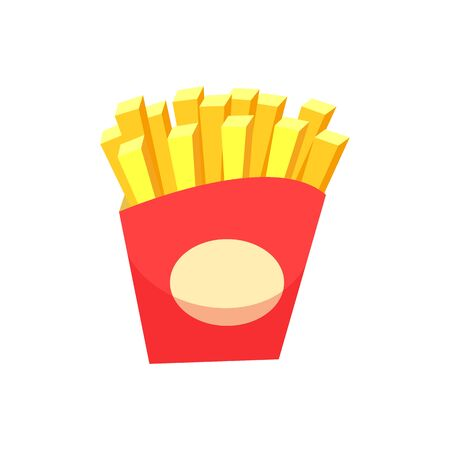 French Fries in package vector, isolated icon of fried potatoes in sticks. Cut product fattening prepared in oil, nutrition fast food served in bistro cafe