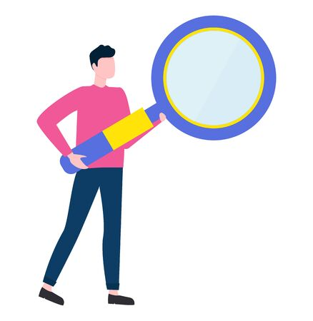Male with big magnifying glass vector, businessman analyst with zooming tool, researches and info finding scrutinizing and dealing with data flat style