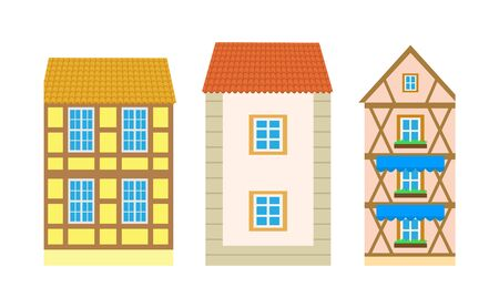 Building outside view, colorful roofs and design walls of construction with windows and balconies. Flat style exterior of residence or villa vector Stock Illustratie