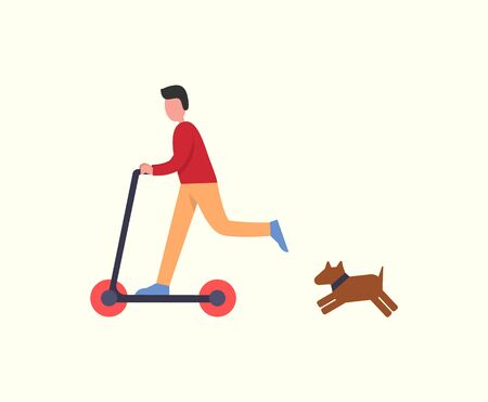 Man riding scooter pet dog following owner, running canine vector. Lifestyle of male, young male having fun with transport. Person balancing on board