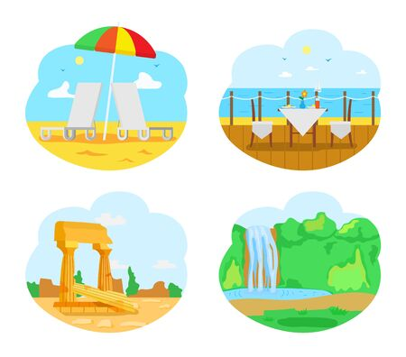 Tourists attractions vector, natural scenery with waterfall and road set. Greenery of forest, ancient civilization ruins, seaside with umbrella and cafe