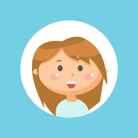 Child smiling vector, cute girl showing excitement on face. Childhood emotions, circle frame isolated kid. Portrait of schoolgirl, young teenager