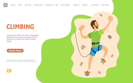 Climbing hobby vector, man wearing special protective equipment hanging on wall with rocks and stones. Extreme climb sporting activity of male. Website or webpage template, landing page flat style Illusztráció